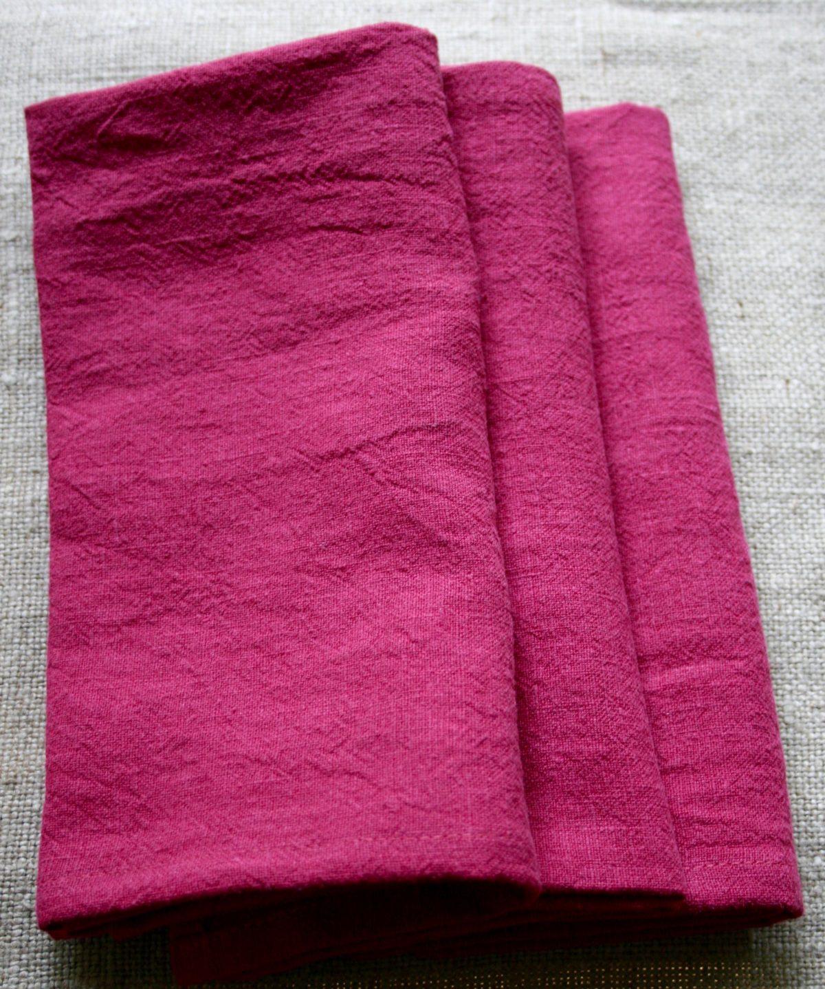 serviette-table-lin-rose-framboise