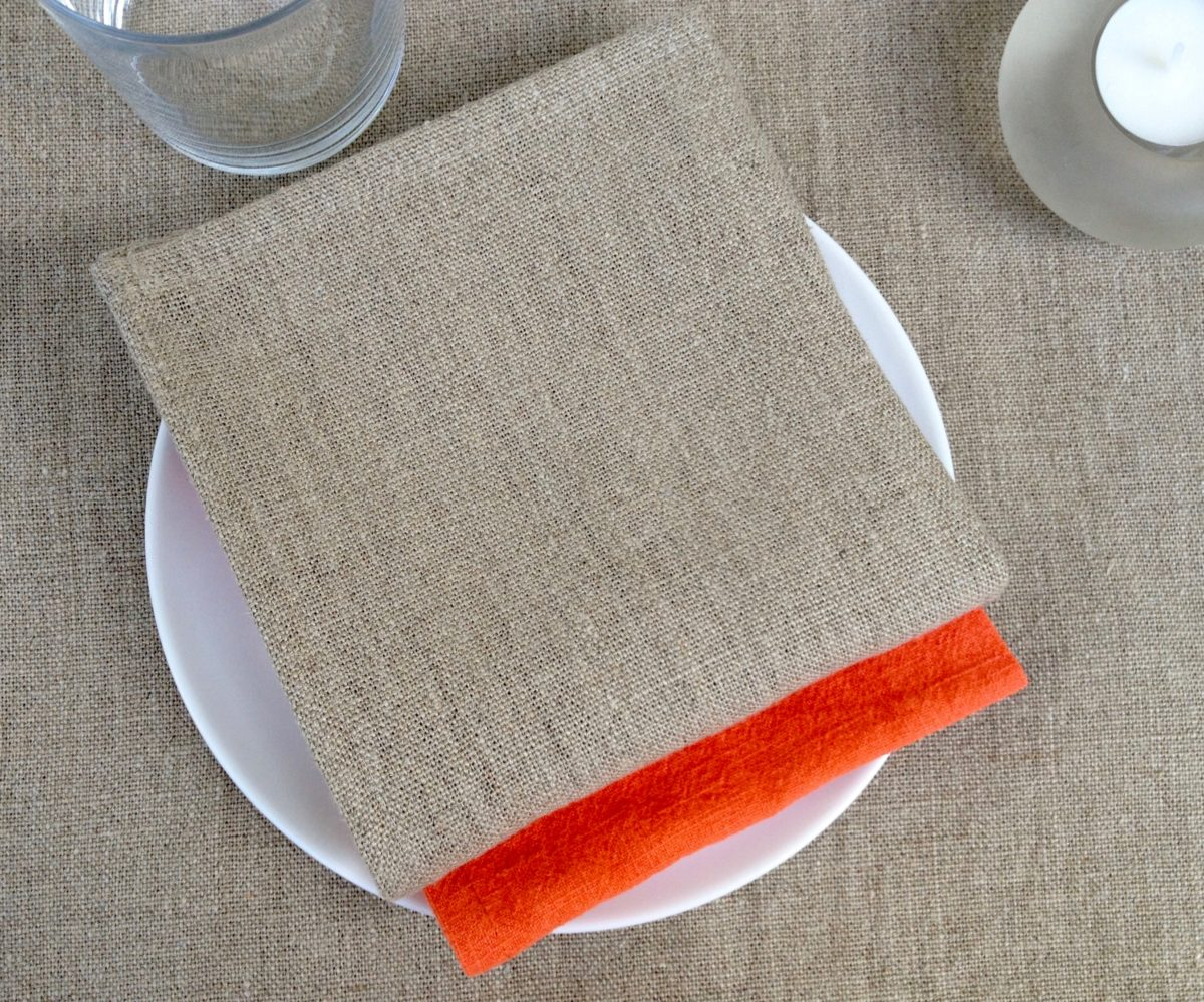 serviette lin naturel 30x30