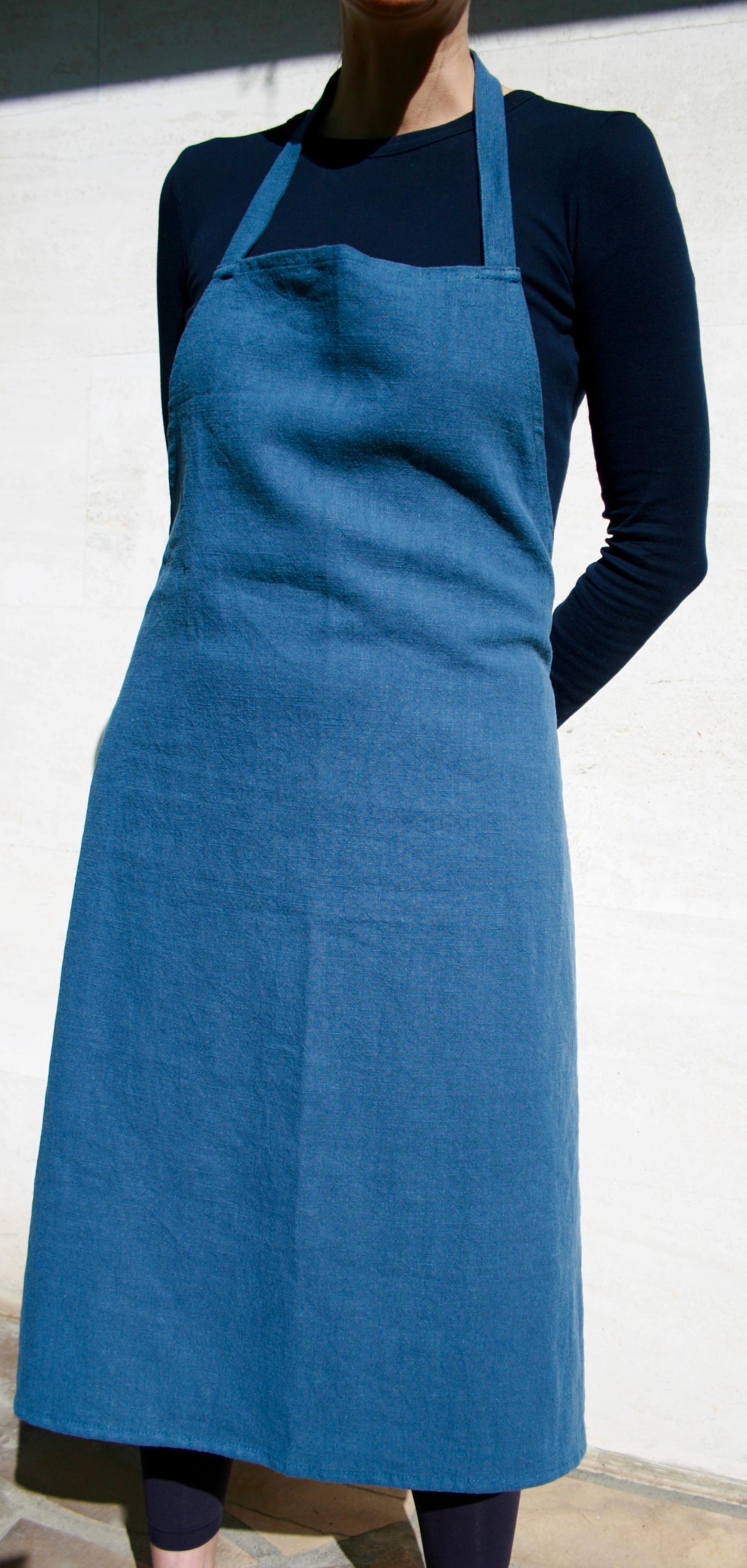 tablier-lin-bleu-nuit-etoilee-face
